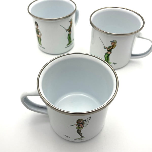 Enamel fly fishing mug by Bryn Parry