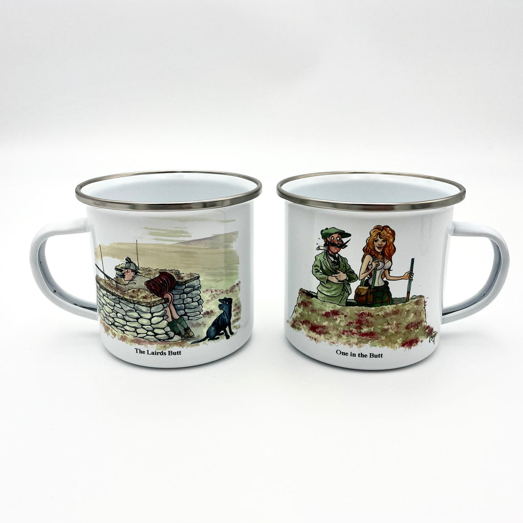 Grouse shooting enamel mug by Bryn Parry