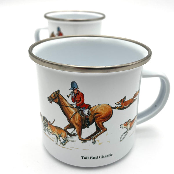 Enamel fox hunting mug by Bryn Parry