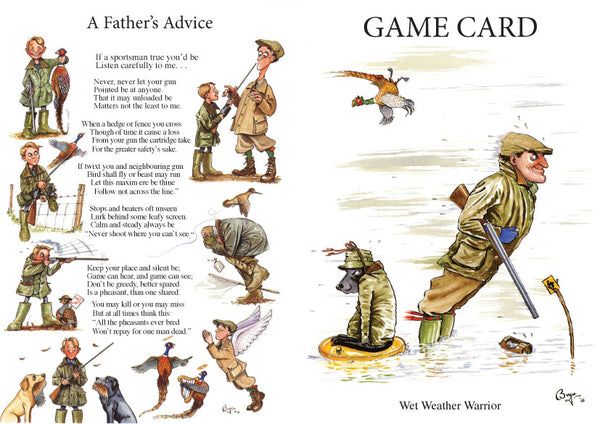 Shoot Game Cards. Wet Weather Warrior by Bryn Parry