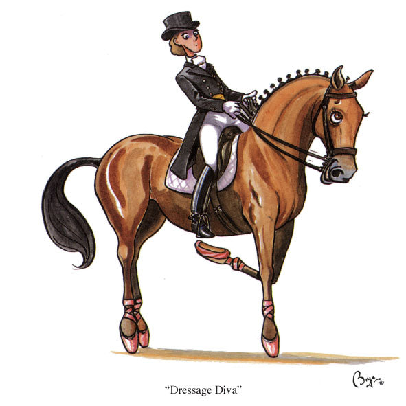 Horse riding greeting card by Bryn Parry. Dressage Diva