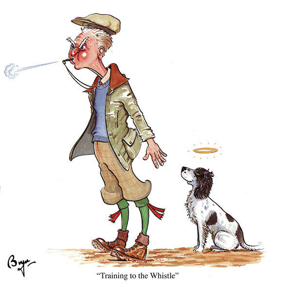 Training to the Whistle dog and shooting greeting card by Bryn Parry