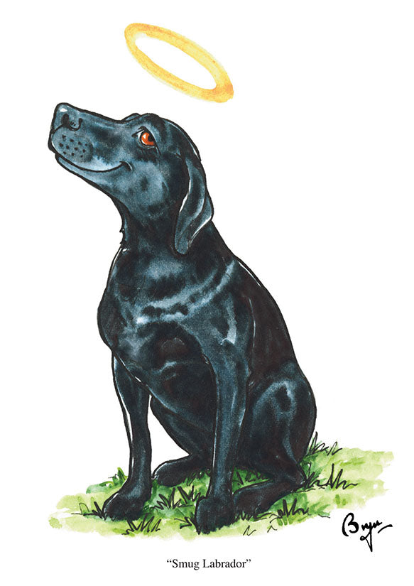 """Smug Labrador"" dog greeting card by Bryn Parry"