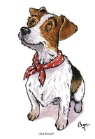 Jack Russell dog greeting card by Bryn Parry