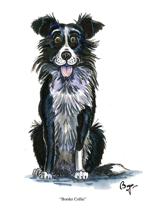 Border Collie dog greeting card by Bryn Parry
