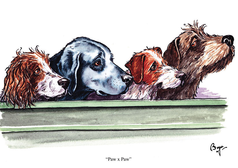 Paw x Paw dog greeting card by Bryn Parry