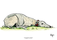 Lurcher dog greeting card. Languid Lurcher by Bryn Parry