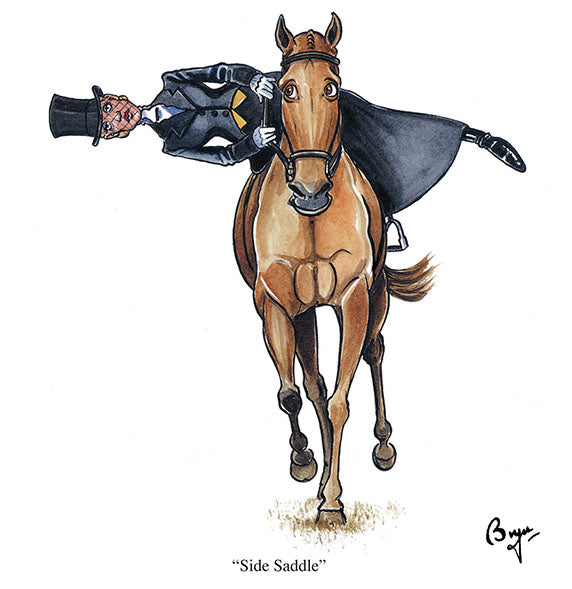 Horse riding greeting card by Bryn Parry. Side Saddle