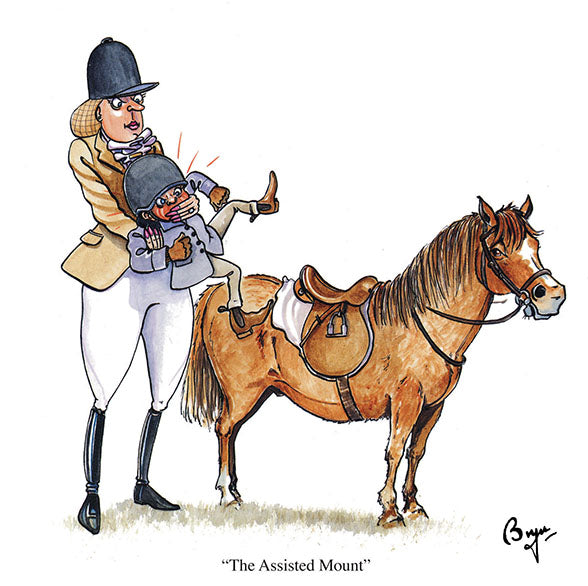 Horse riding greeting card by Bryn Parry. The Assisted Mount