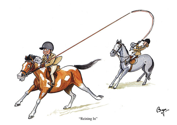 Horse riding greeting card by Bryn Parry. Reining In