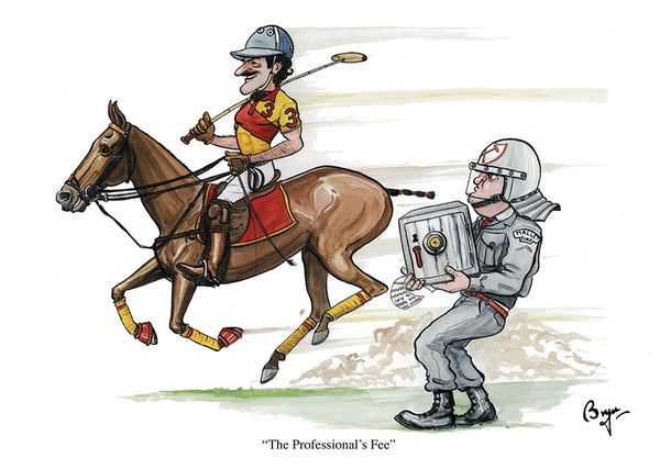The Professional's Fee. Horse polo greeting card by Bryn Parry