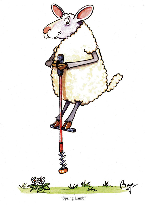 Sheep Greeting Card by Bryn Parry. Spring Lamb