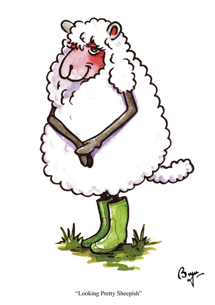 Sheep Greeting Card by Bryn Parry. Looking Pretty Sheepish