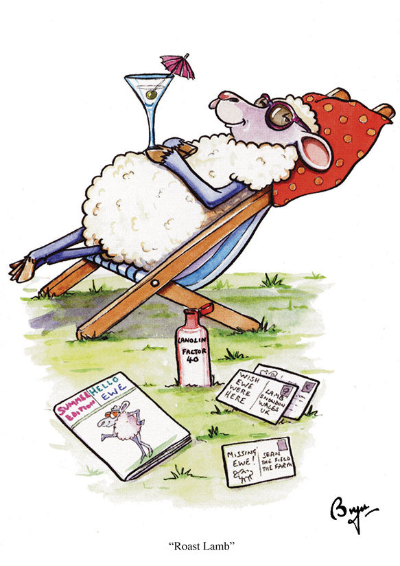 Sheep Greeting Card by Bryn Parry. Roast Lamb