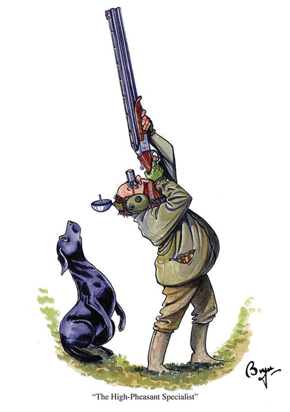 The High-Pheasant shooting greeting card by Bryn Parry