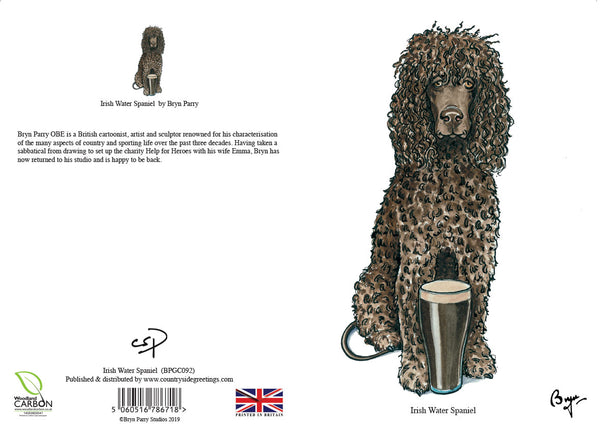 Irish Water Spaniel dog Greeting Card by Bryn Parry