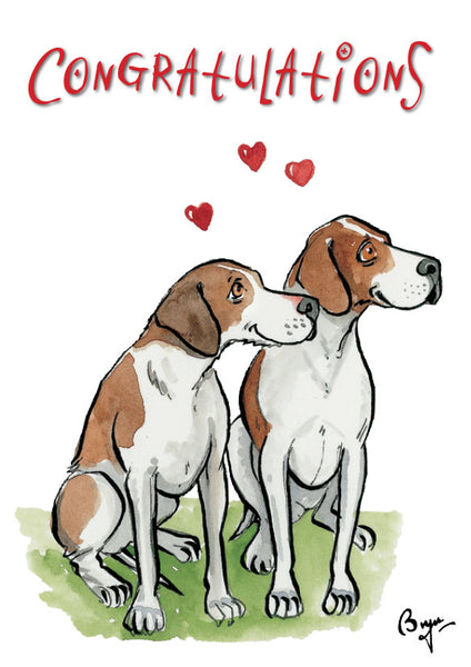 Congratulations cartoon Foxhound Greeting Card by Bryn Parry.