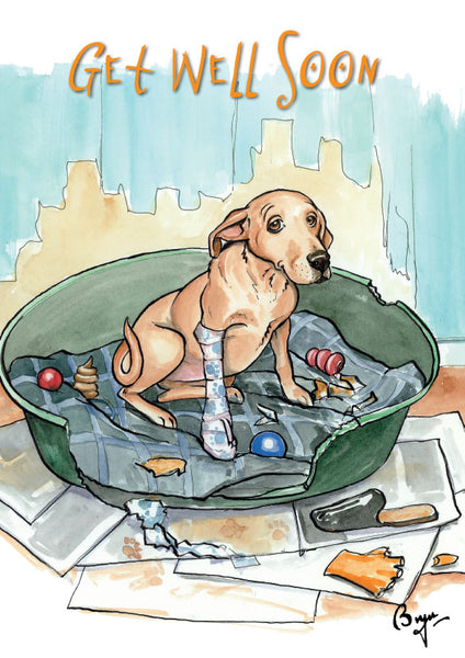 Labrador Get Well Greeting Card by Bryn Parry.