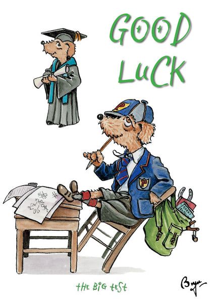 Good Luck Exam, The Big Test Dog cartoon Greeting Card by Bryn Parry.