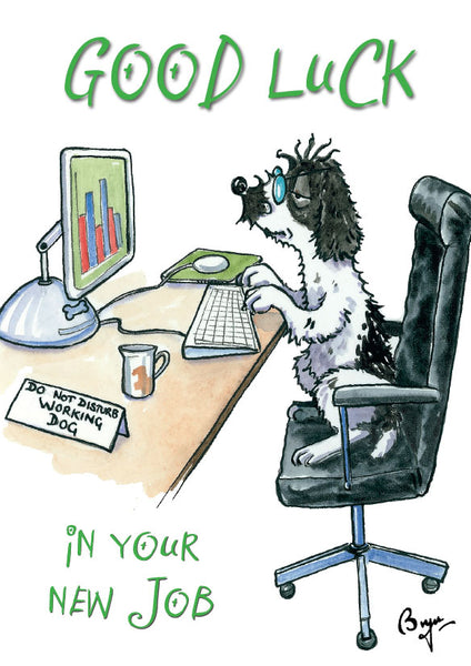 Good Luck New Job, Cocker Spaniel, cartoon Greeting Card by Bryn Parry.