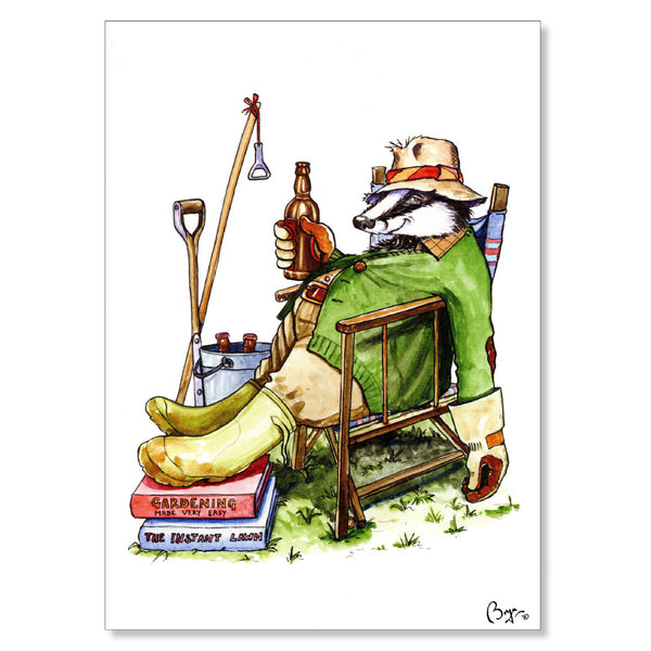 Gardening greeting card. Badger Beer by Bryn Parry