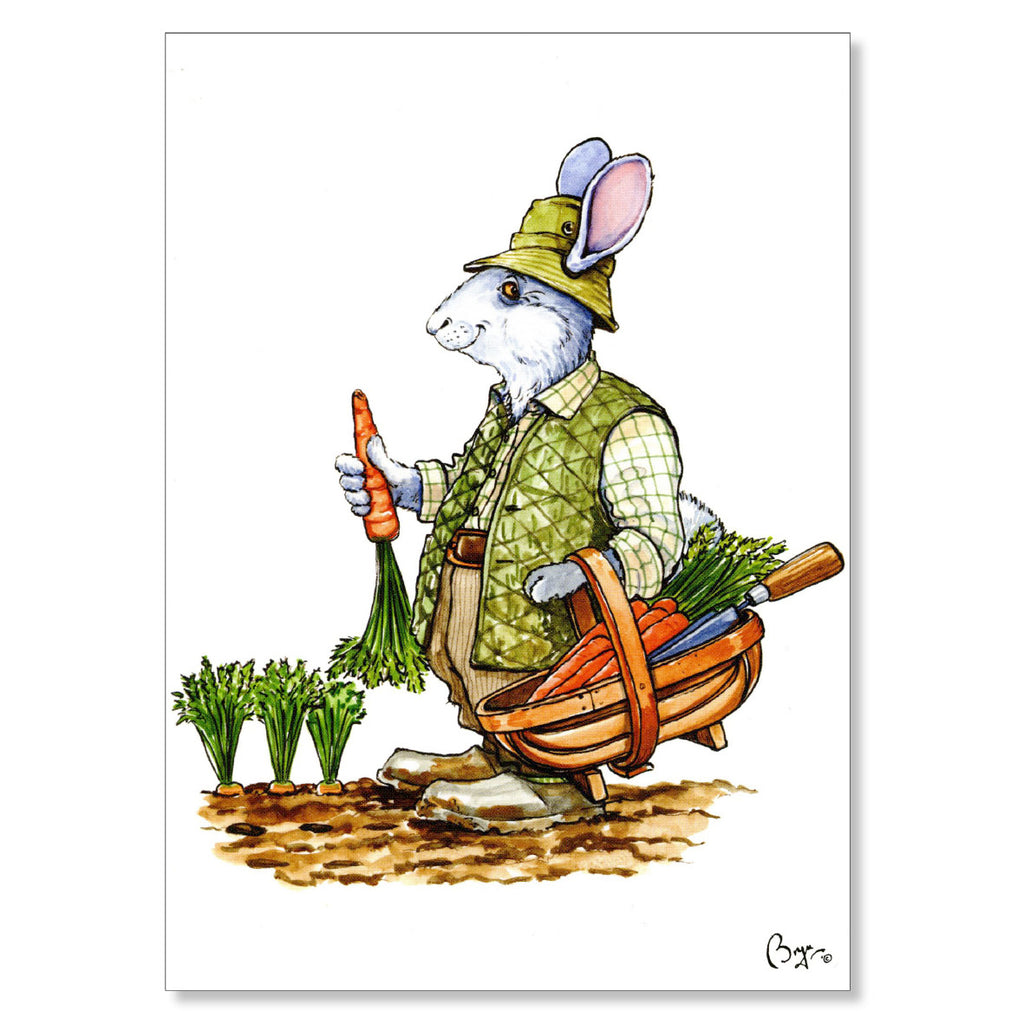 Gardening greeting card. Rabbit and Carrots by Bryn Parry.
