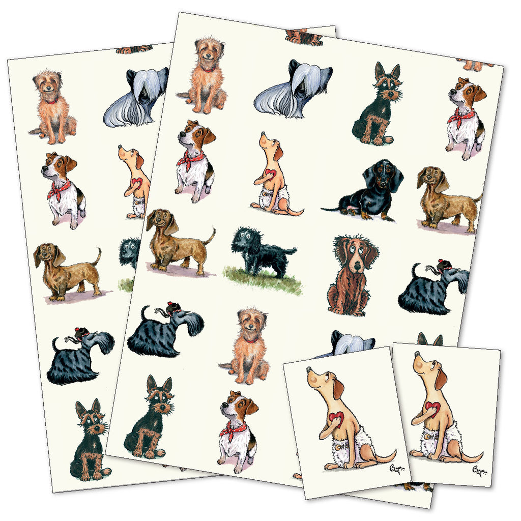 terrier and small dog cartoon gift wrap wrapping paper