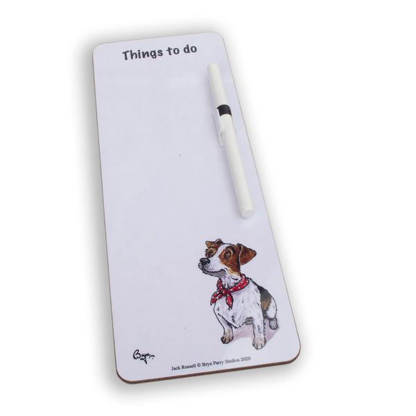 Slim magnetic memo dry wipe things to do board. Jack Russell by Bryn Parry