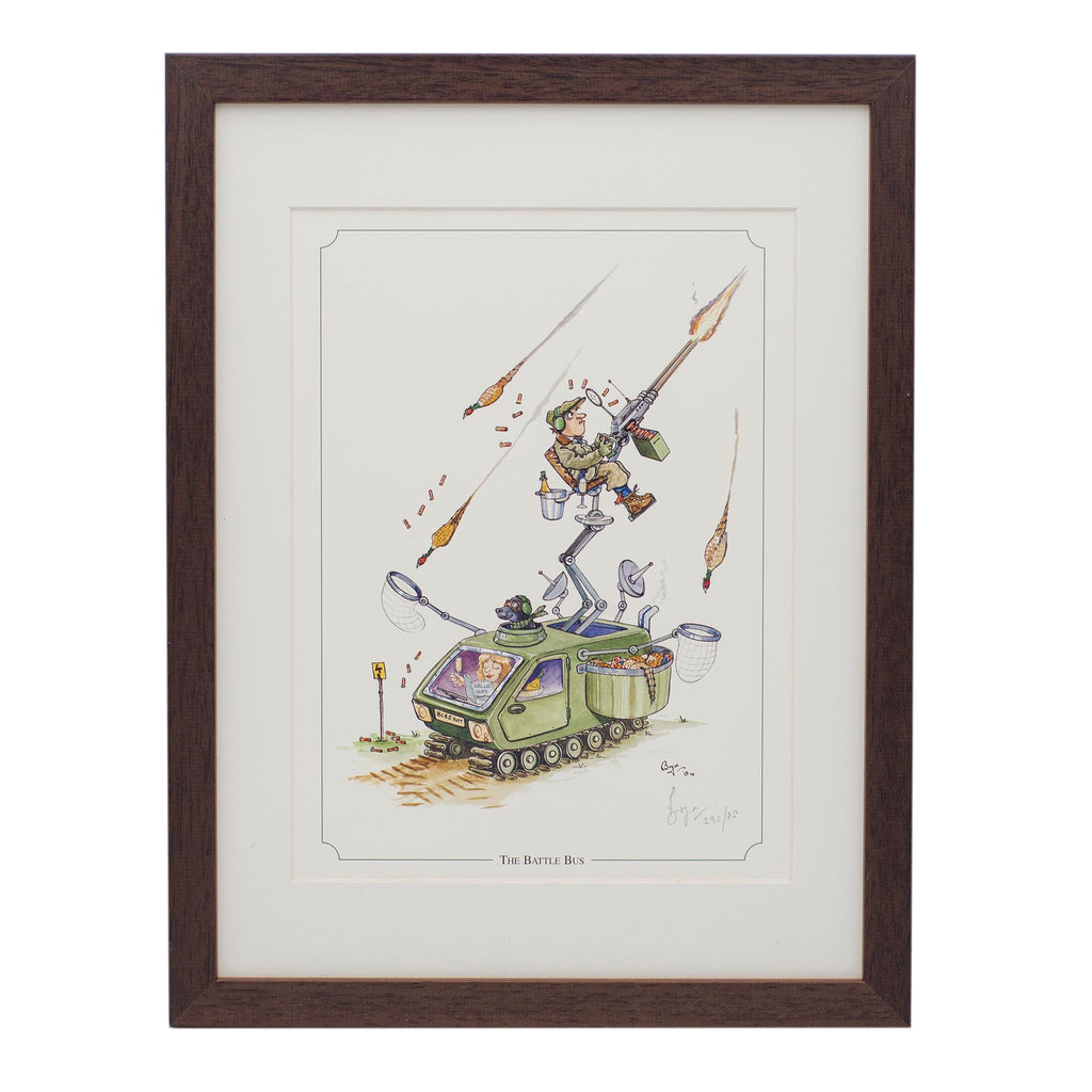Limited edition shooting framed print. The Battle Bus by Bryn Parry
