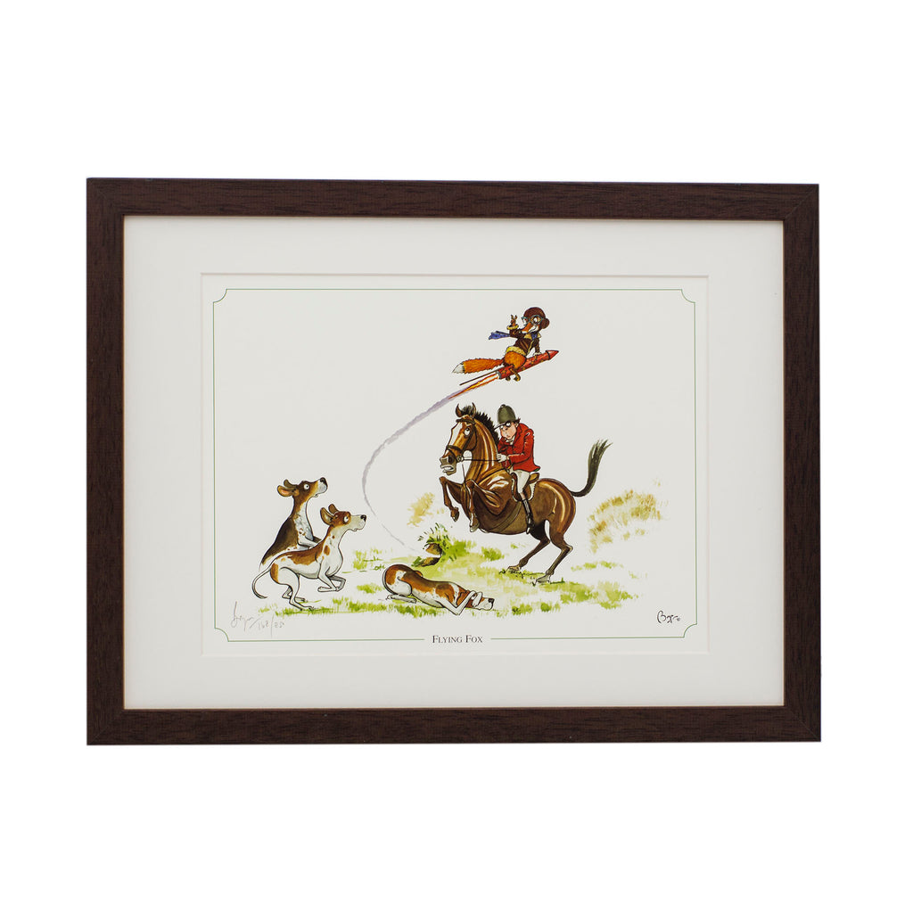 Limited edition horse and hunting framed print. Flying Fox by Bryn Parry