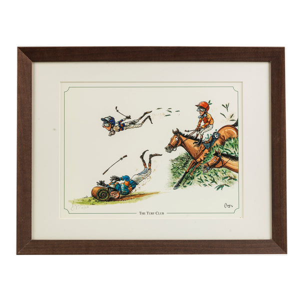 Horse racing framed print. The Turf Club by countryside cartoonist Bryn Parry