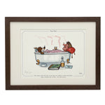 Cartoon shooting framed print. Get home, feed the dog... by Bryn Parry