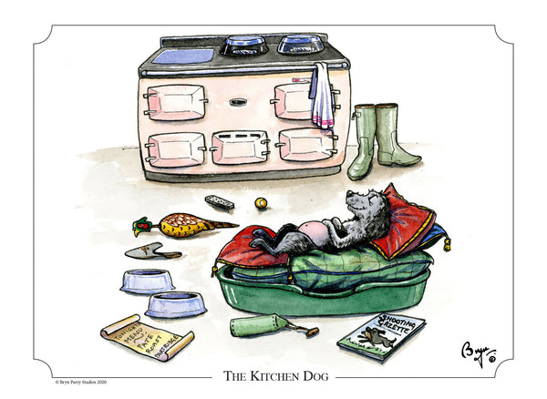 Cocker spaniel cartoon signed print. The Kitchen Dog by Bryn Parry