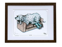 Dog cartoon signed framed print. Lapdog by Bryn Parry