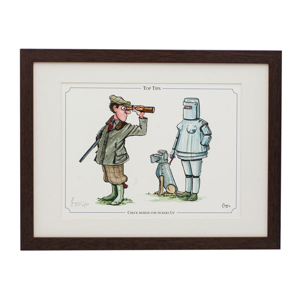 Shooting cartoon framed print by Bryn Parry