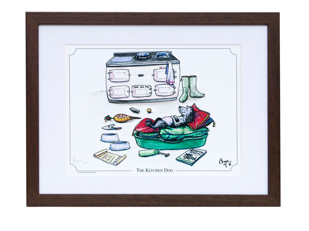 Spaniel dog cartoon signed framed print. The Kitchen Dog by Bryn Parry