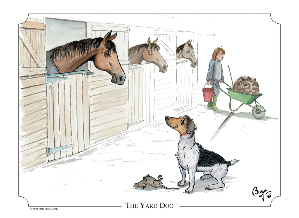 Jack Russell and Horse cartoon signed print. The Yard Dog by Bryn Parry