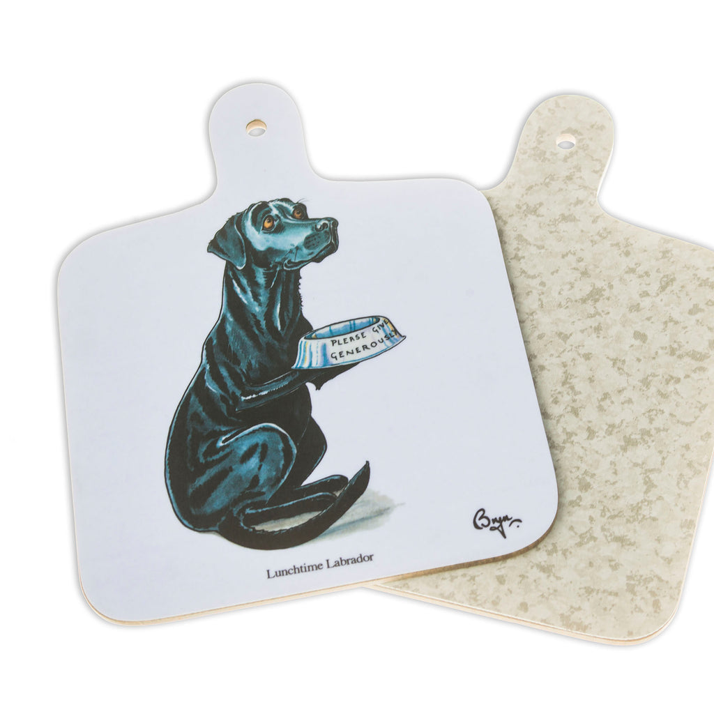 Mini Chopping Board. Lunchtime Labrador by Bryn Parry. Dog themed gift idea