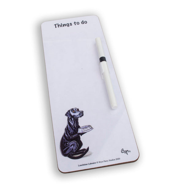 Slim magnetic memo dry wipe things to do board. Lunchtime Labrador by Bryn Parry