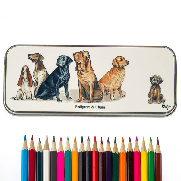Dog cartoon pencil tin and 20 colouring pencils. Pedigrees and Chum by Bryn Parry