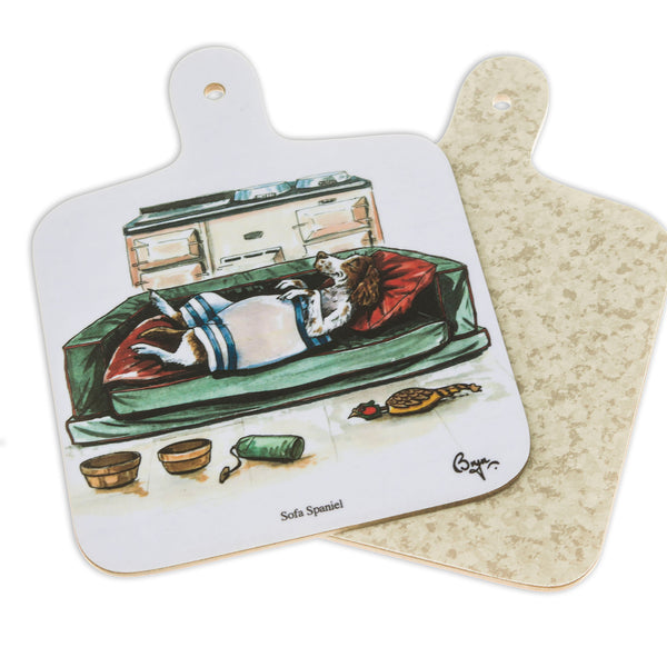 Mini Chopping Board. Sofa Spaniel by Bryn Parry. Dog themed gift idea