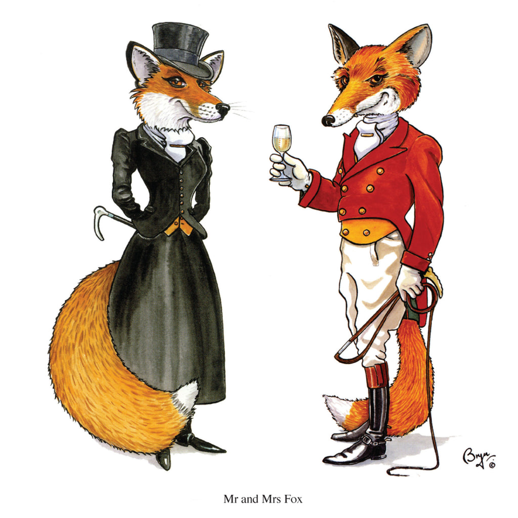Mr and Mrs Fox greeting card with sound by Bryn Parry