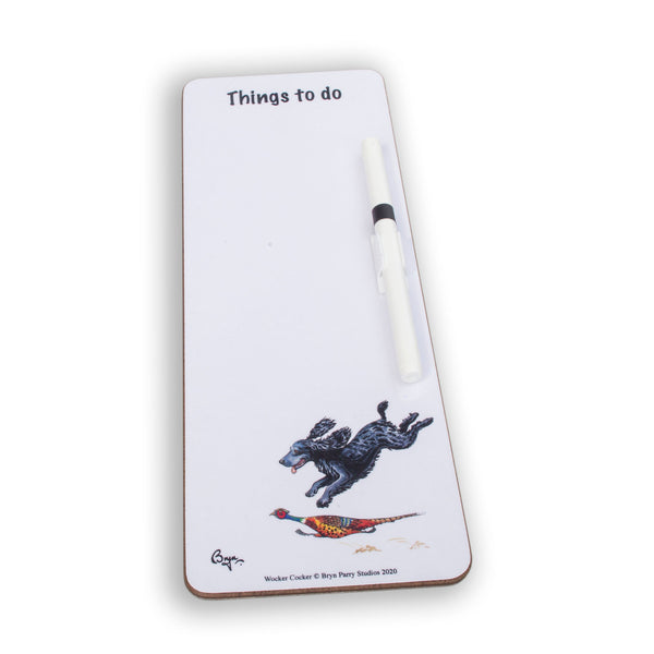 Slim magnetic memo dry wipe things to do board. Wocker Cocker by Bryn Parry