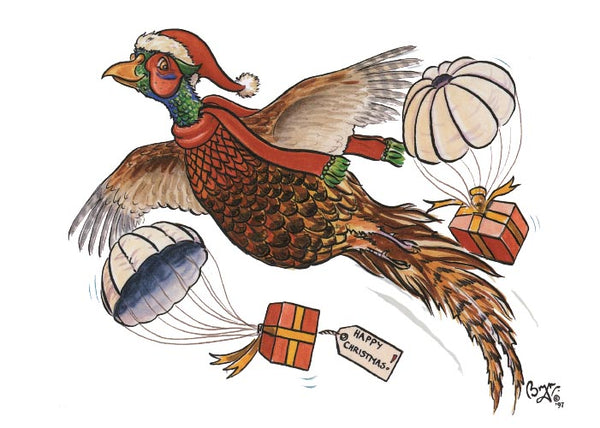 Pheasant Present Christmas Card by Bryn Parry