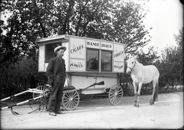 """1880's Burger Van"" Horse Greeting Card by Charles Sainsbury-Plaice"