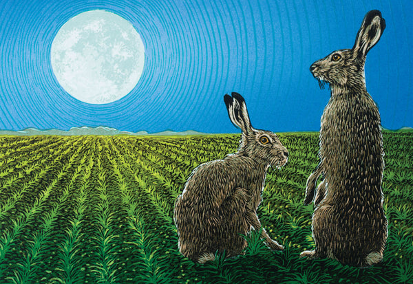 """Lunar Lovers"" wildlife greeting card by Colin Blanchard."