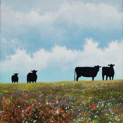 Black cattle and wildflowers