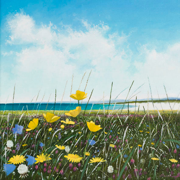 Wildflowers and coastal painting