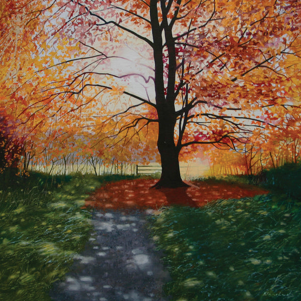 """Autumn Lights"" art landscape greeting card by Heather Blanchard."
