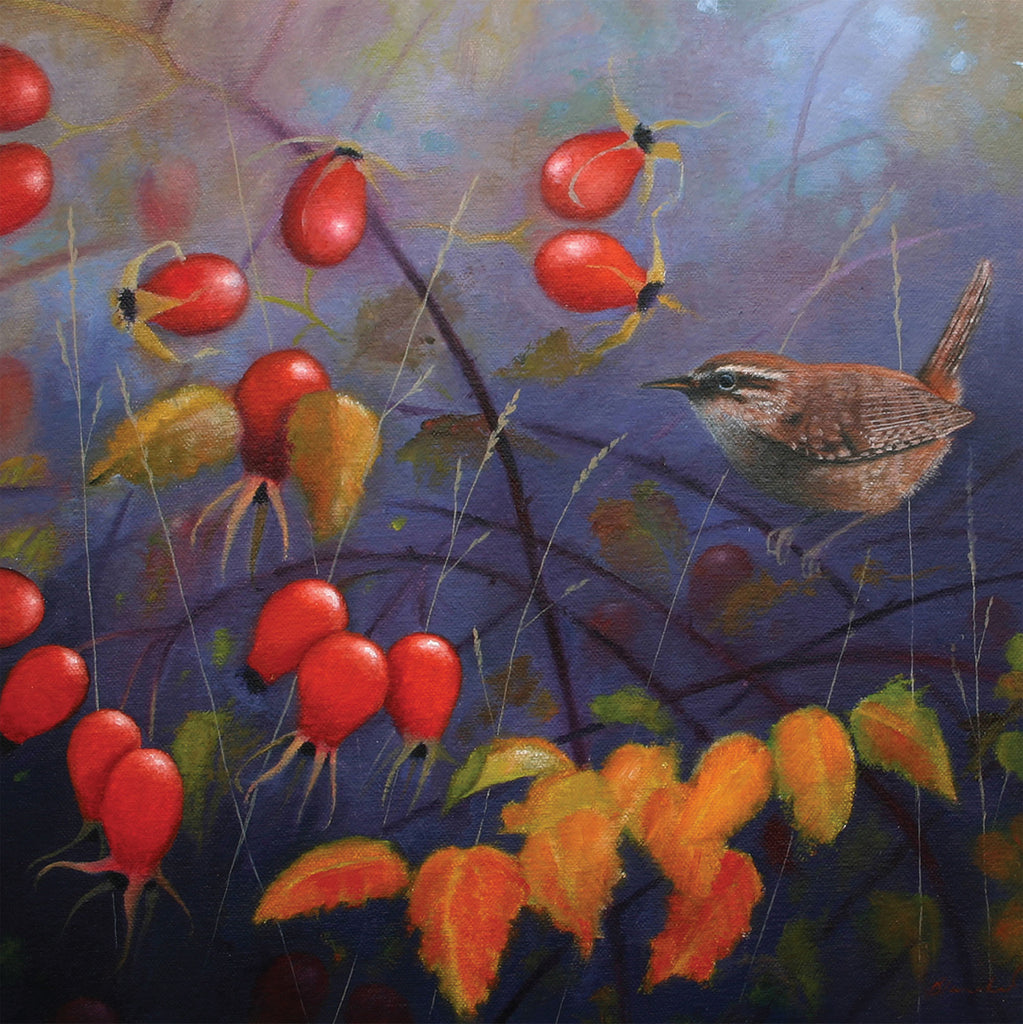 """Autumn Wren"" art landscape greeting card by Heather Blanchard."